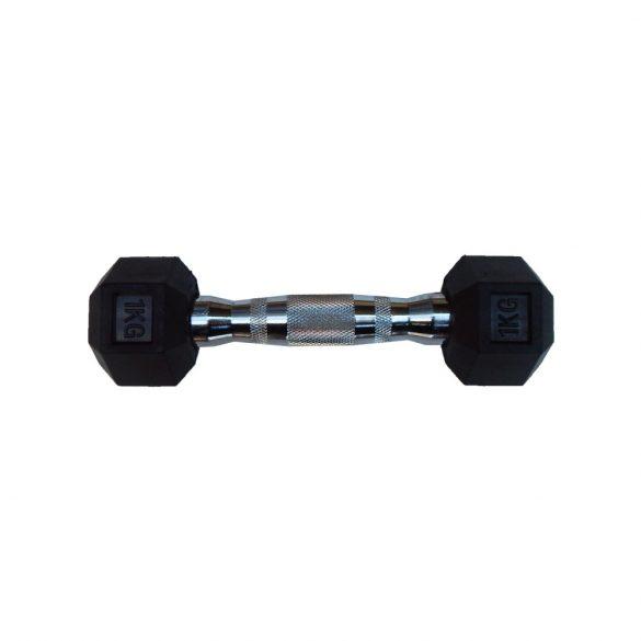 Capetan® Professional Line 1Kg Hex Egykezes edzőtermi gumírozott kézi súlyzó