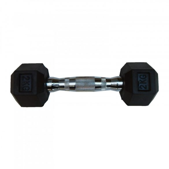 Capetan® Professional Line 2Kg Hex Egykezes edzőtermi gumírozott kézi súlyzó