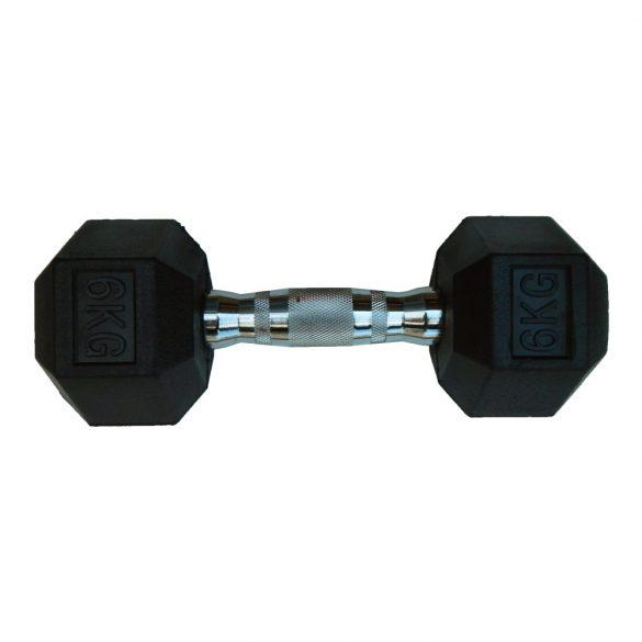 Capetan® Professional Line 6Kg Hex Egykezes edzőtermi gumírozott kézi súlyzó