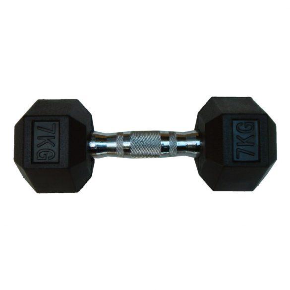 Capetan® Professional Line 7Kg Hex Egykezes edzőtermi gumírozott kézi súlyzó