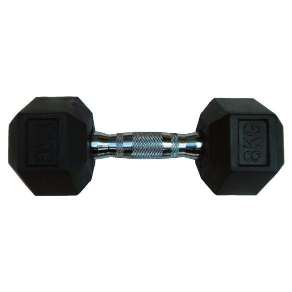 Capetan® Professional Line 8Kg Hex Egykezes edzőtermi gumírozott kézi súlyzó