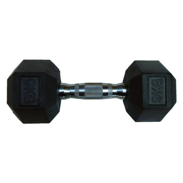Capetan® Professional Line 9Kg Hex Egykezes edzőtermi gumírozott kézi súlyzó