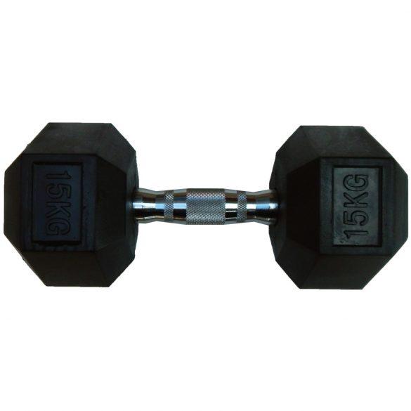 Capetan® Professional Line 15Kg Hex Egykezes edzőtermi gumírozott kézi súlyzó