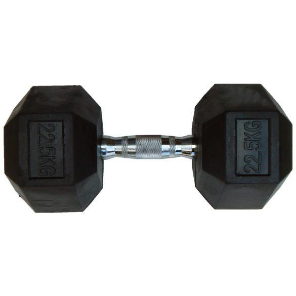 Capetan® Professional Line 22,5Kg Hex Egykezes edzőtermi gumírozott kézi súlyzó