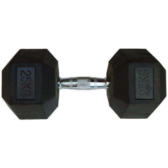 Capetan® Professional Line 25Kg Hex Egykezes edzőtermi gumírozott kézi súlyzó