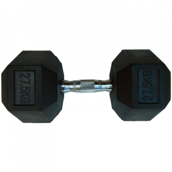 Capetan® Professional Line 27,5Kg Hex Egykezes edzőtermi gumírozott kézi súlyzó