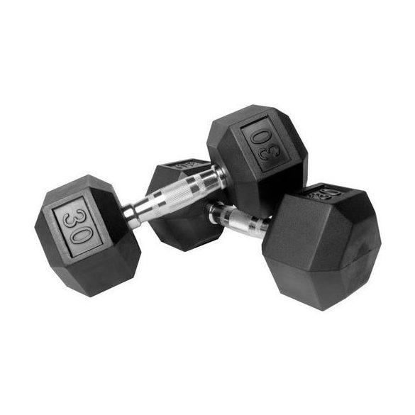 Capetan® Professional Line 30Kg Hex Egykezes edzőtermi gumírozott kézi súlyzó gumírozott fejvégekkel, chromozott markolattal - Hexagon gumírozott kézisúlyzó