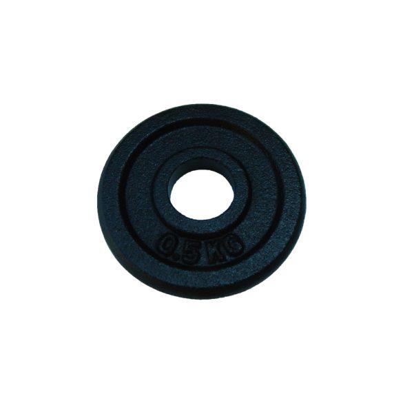 Capetan® 0,5Kg 31mm átm, Acél súlytárcsa fekete selyemfényű festék bevonattal,