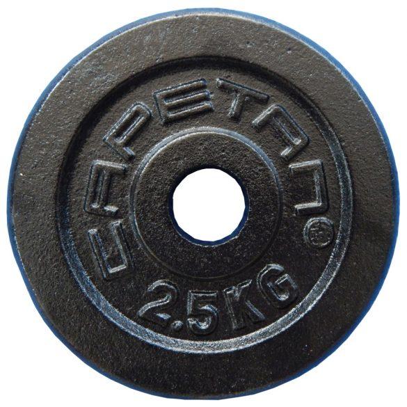 Capetan® 2,5Kg  31mm átm, Acél súlytárcsa fekete selyemfényű festék