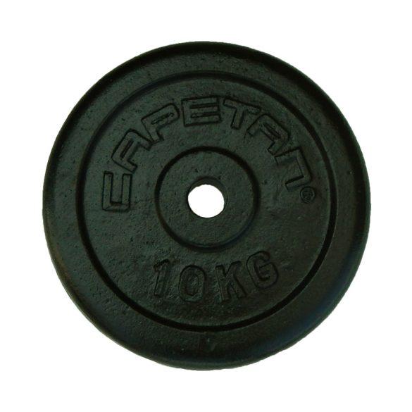Capetan® 10Kg 31mm átm, Acél súlytárcsa fekete selyemfényű festék bevonattal,