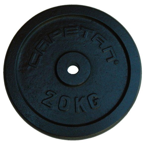 Capetan® 20Kg 31mm átm, Acél súlytárcsa fekete selyemfényű festék bevonattal,