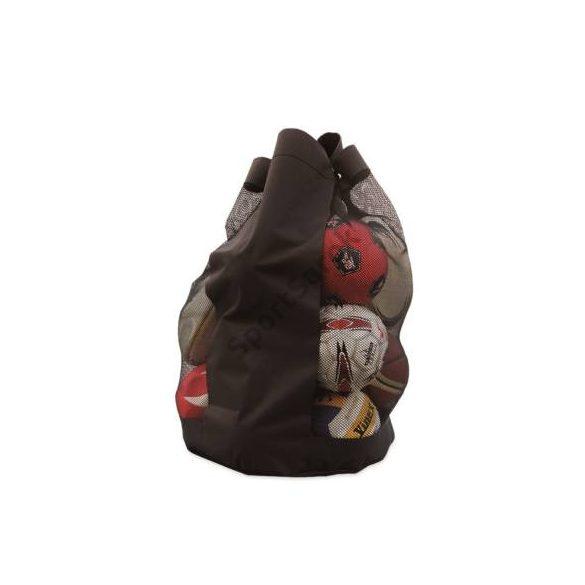 Labdatartó zsák hordpánttal, neccbetétes fekete orkán, 89*53 cm